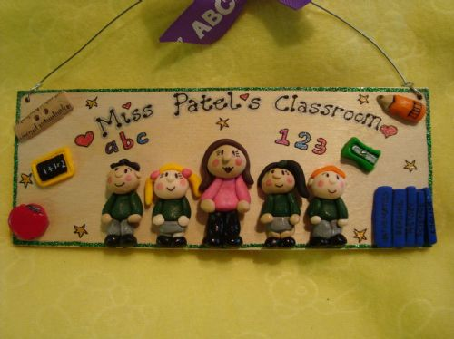 5 character Teacher's Classroom Personalised 3d Unique Sign Plaque Gift Handmade One of A Kind Any Phrasing Wooden